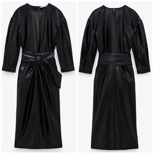 NEW Zara Belted Faux Leather Midi Draped Dress